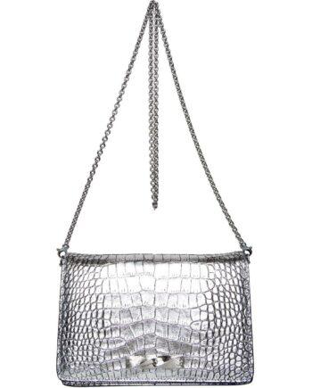 Mini-Bag in Leder mit Krokoprägung und langem Kettenhenkel mit Ersatzgurt-0