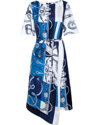 Kniebedeckendes Seidenkleid mit ornamentalem Musterprint und Taillenbindegürtel-0