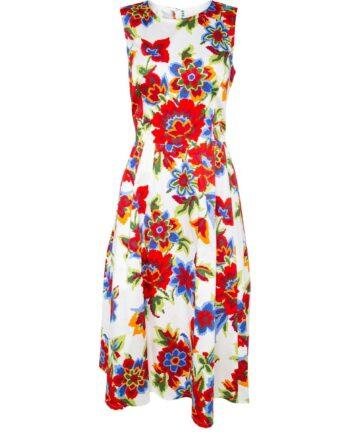 Tailliertes Kleid in Midi-Länge in Stretch-Baumwolle mit Blumen-Musterprint-0