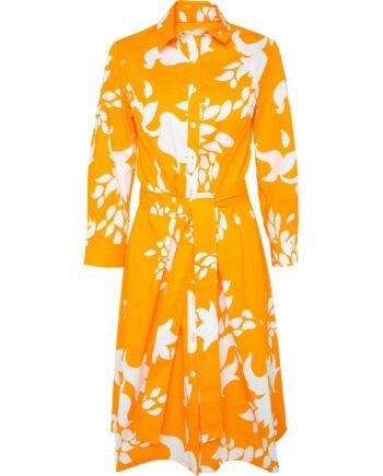 Knielanges Hemdblusenkleid mit floralem Musterprint und Taillenbindegürtel-0