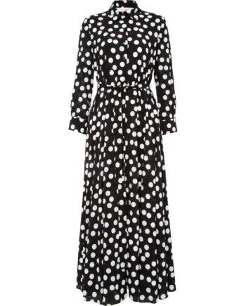 Hemdblusen-Kleid in Maxi-Länge mit Polka-Dotprint und Taillenbindegürtel-0