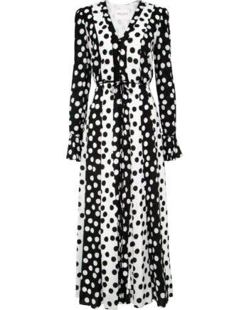 Maxi-Kleid mit Polka-Dotprint, V-Ausschnitt und Taillenbindegürtel-0