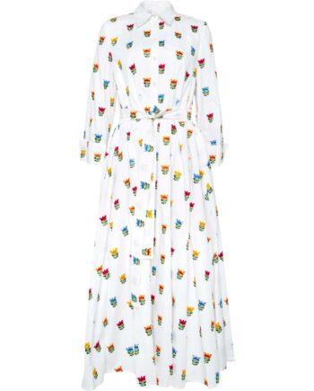 Hemdblusen-Kleid in Maxi-Länge mit Blumen-Stickereieien und Taillenbindegürtel-0