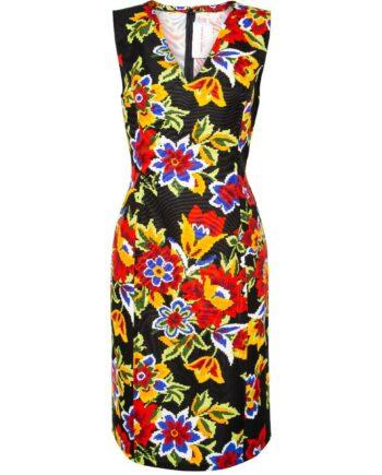 Kniebedeckendes Kleid im Baumwoll-Seidengemisch mit Blumen-Musterprint-0