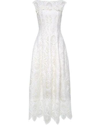 Tailliertes Spitzenkleid mit leicht ausgestelltem Rockteil und floralen Dekodetails-0