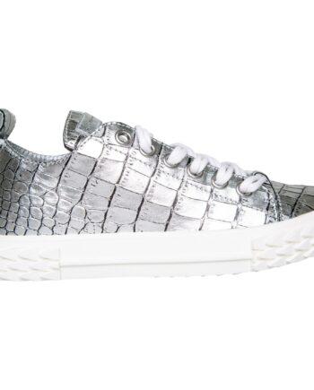 Sneakers im Kroko-Motivleder mit Profilsohle-0