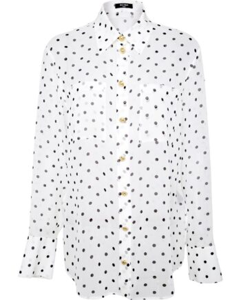 Semitransparente Polka-Dot-Bluse in Seide-0