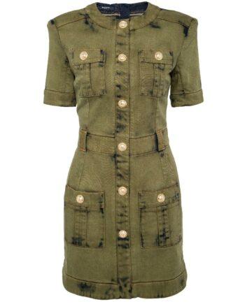 Denim-Dress in Mini-Länge mit Logo-Knopfdeko und rückseitiger Zippschließe-0