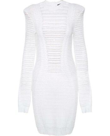 Silhouettennahes Mini-Kleid mit Schulterpolster und rückseitiger Zippschließe-0