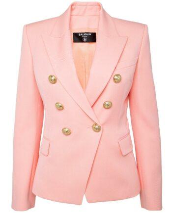 Taillierter Slim-Cut-Blazer in Wolle mit Logo-Knopfdeko und Schulterpolster-0