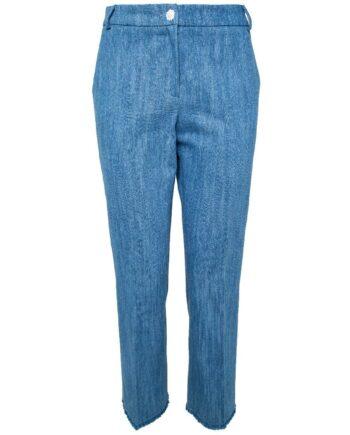 Jeans im Baumwoll-Leinengemisch in gecroppter Länge-0