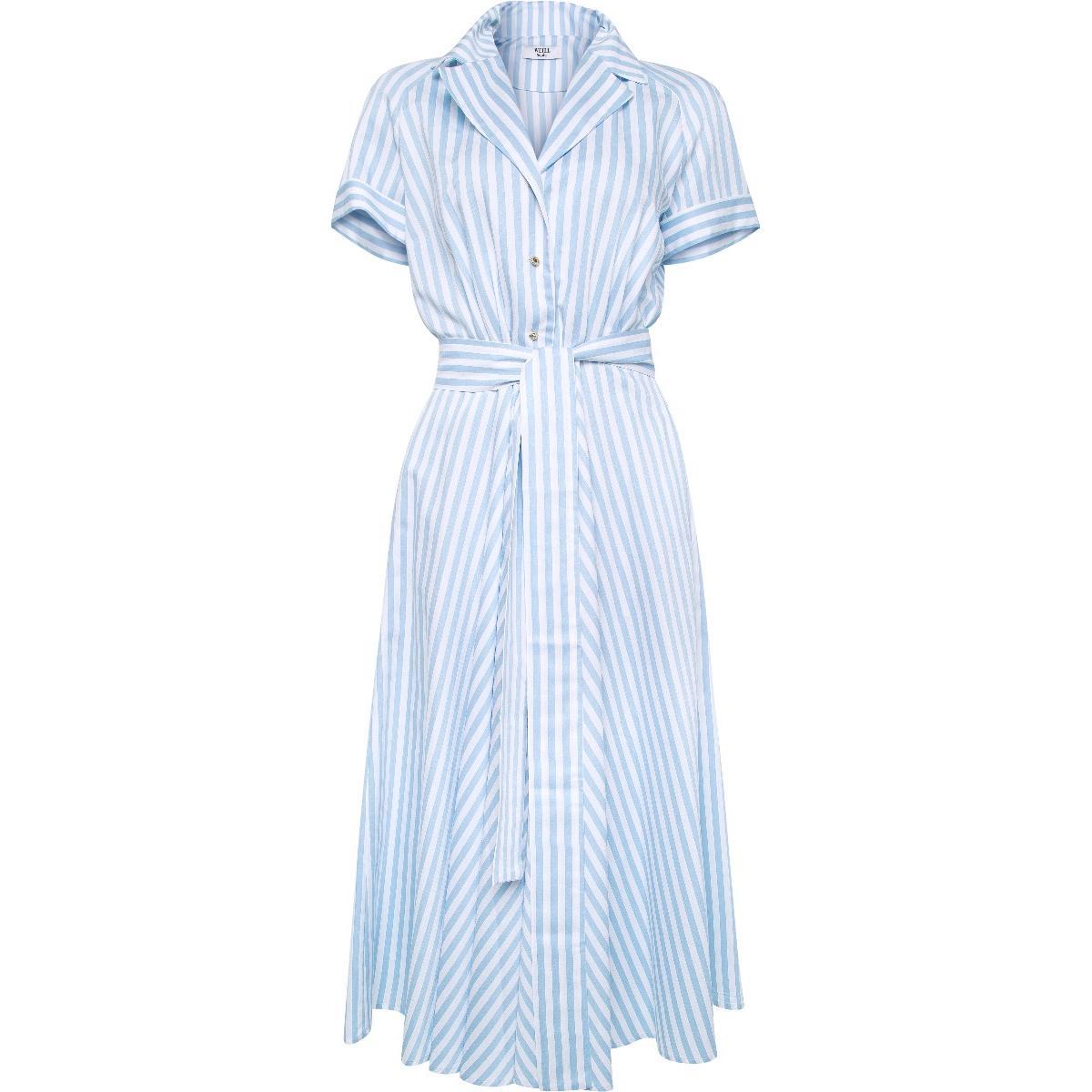 Midi-Kleid mit Streifenprint, Taillenbindegürtel und Reverskragen-0