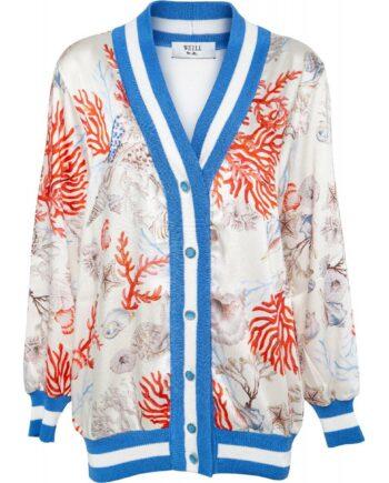 Cardigan mit ornamentalem Print und elastischem Streifenbündchen-0