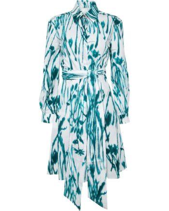 Knielanges Hemdblusenkleid mit Aquarell-Flowerprint und breitem Taillenbindegürtel-0