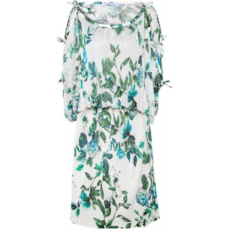 Knielanges Kleid mit Cut-Out-Ärmeln mit Schleifen und Blumenmusterprint-0
