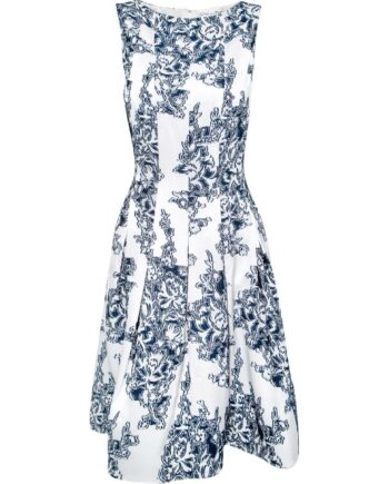 Kniebedeckendes Kleid mit leichter Taillierung und Blumenmusterprint-0