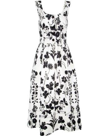 Kniebedeckendes Kleid in Stretch-Baumwolle mit Knopfleiste am Dekolleté und Blumen-Musterprint-0