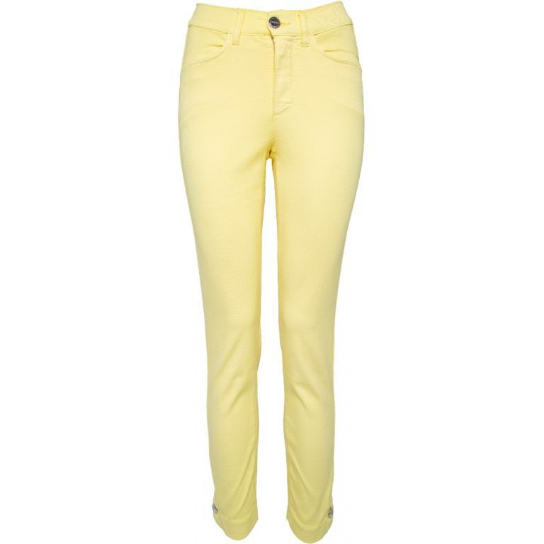 Pastell-Slim-Pants in gecroppter Beinlänge mit seitlicher Kopfzier an den Säumen-0