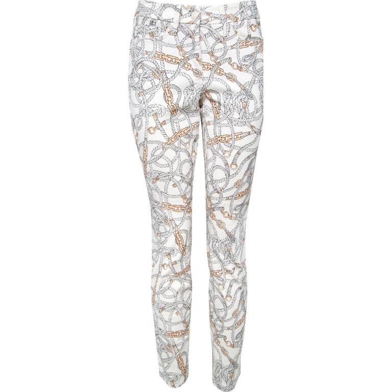 Jeans im Slim-Cut mit ornamentalem Ketten-Motivprint-0