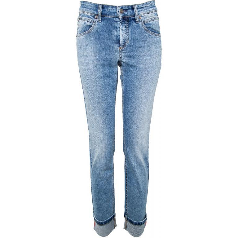 Jeans im Slim-Cut mit Schmucksteinbesatz an den Stulpen-0