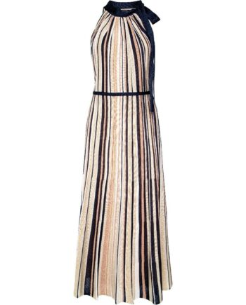 Holderneck-Kleid im Streifenmuster mit Schleifendetail am Hals-0