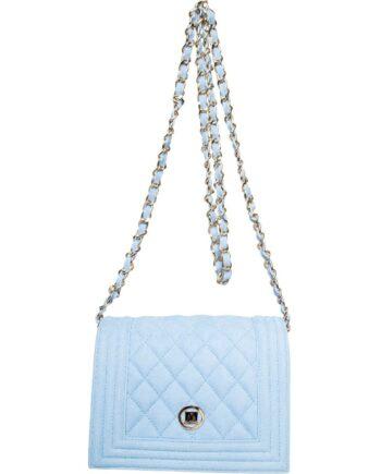 Mini-Bag in Veloursleder mit Absteppung und Kettenschultergurt-0
