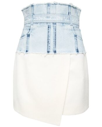 High-Waist-Mini-Rock mit Denim-Einsatz-0
