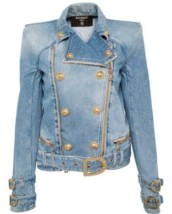Denim-Jacke im Oversize-Schnitt mit Logo-Goldknöpfen, Hüftgürtel und Schulterpolster-0