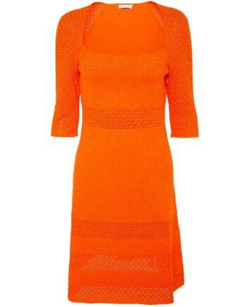 Knielanges Kleid in Stretch-Viskose mit quadratischem Dekolleté-Ausschnitt-0