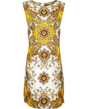 Kniebedeckendes Etuikleid mit ornamentalem Paisley-Musterprint-0
