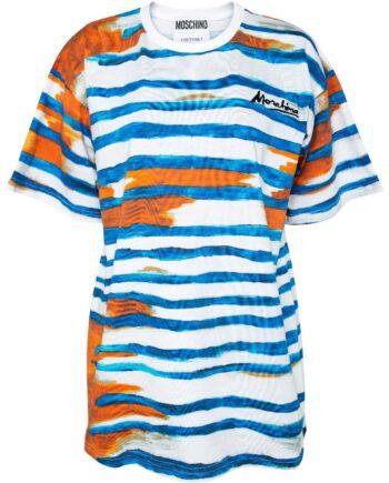 Oversize-T-Shirt mit Paint-Print und Logo-Stickerei-0