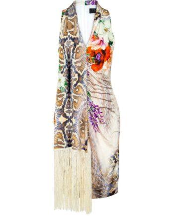 Knielanges, silhouettennahes Kleid mit Musterprint und Fransenfoulard-Detail-0