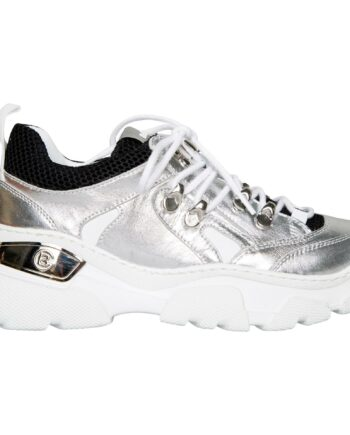 Sneakers im Materialmix mit Metallicleder und gezahnter Profilsohle-0