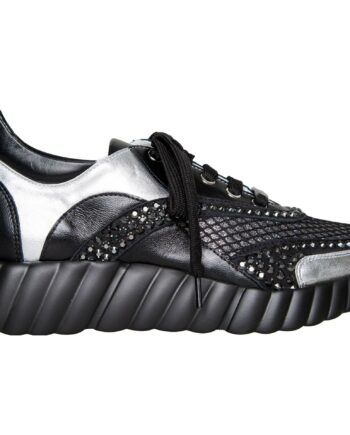 Sneakers mit breiter Profilsohle und Schmucksteinzier-0