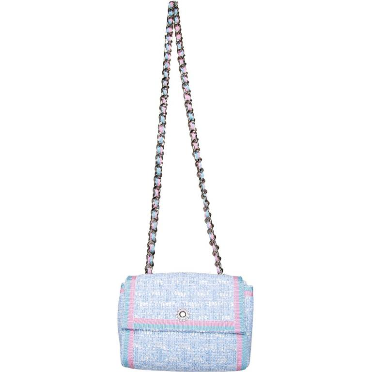 Mini-Bag in Tweed mit langem Kettenschultergurt-0