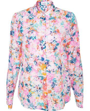 Bluse im Baumwoll-Seidengemisch mit floralem Musterprint-0