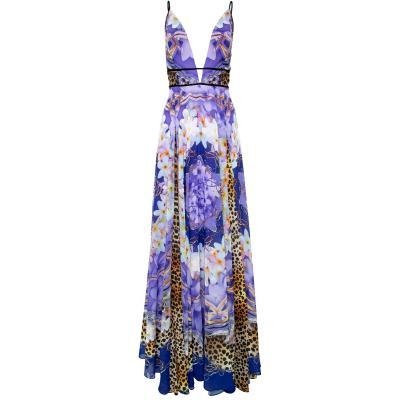 Maxi-Kleid mit Ornament-Animalprint und tiefem Dekolleté-0