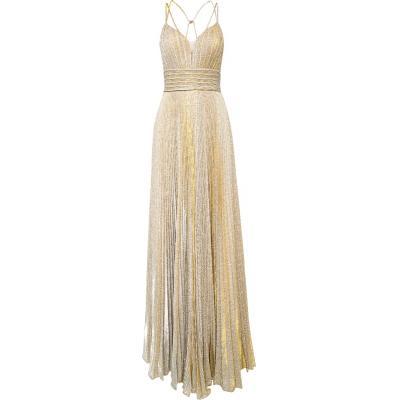 Plissiertes Metallic-Kleid in Maxi-Länge mit tiefem Dekolleté-0