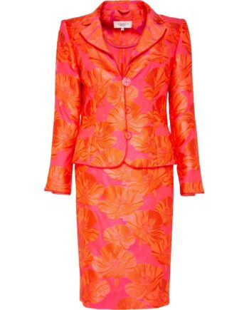 Kostüm aus knielangem Pencilskirt und tailliertem Blazer mit Blumenmusterprint-0