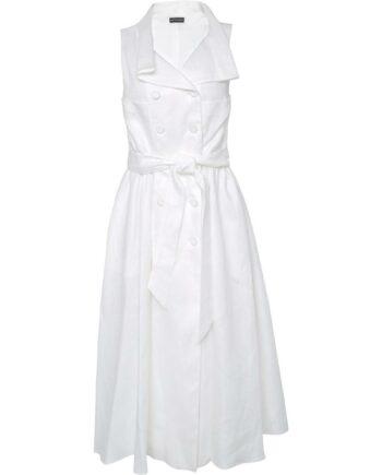 Ärmelloses Kleid in Leinen mit Knopfschließe, asymmetrischem Reverskragen und Taillenbindegürtel-0