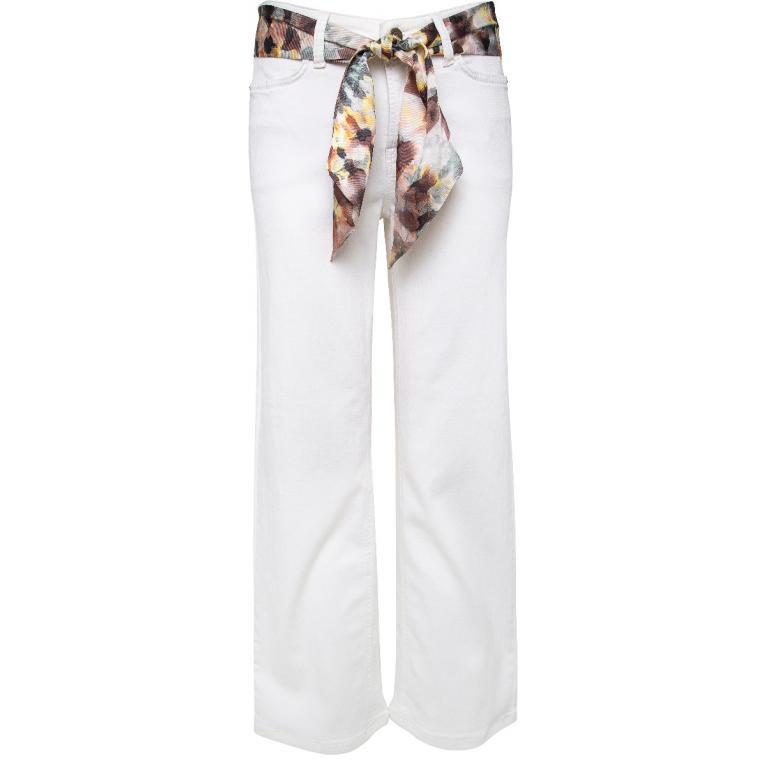 Flared-Pants in gecroppter Länge mit Foulard-Gürtel-0