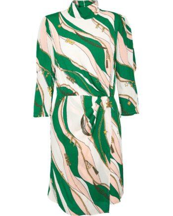Knielanges Kleid in Viskose mit ornamentalem Print und kleinem Stehkragen-0
