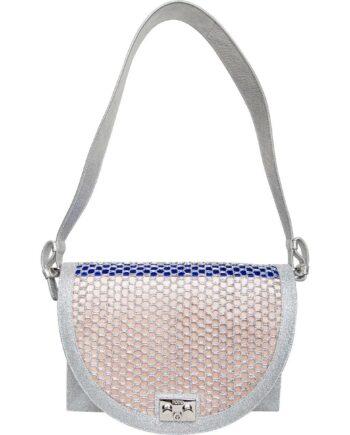 Halbmondförmige Schultertasche mit Metallic-Fishnet-Optik-0