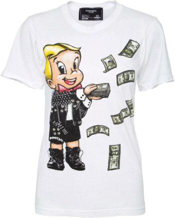 T-Shirt im Slim-Cut mit Comicprintmotiv und Schmucksteinzier-0
