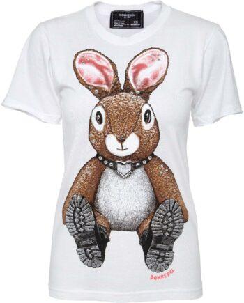 T-Shirt im Slim-Cut mit Hasenprintmotiv und Schmucksteinzier-0
