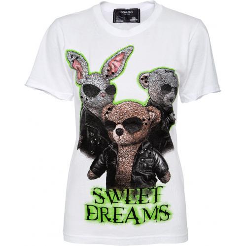 T-Shirt im Slim-Cut mit Tierprintmotiv und Schmucksteinzier-0