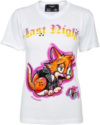 T-Shirt im Slim-Cut mit Katzencomic-Printmotiv und Schmucksteinzier-0