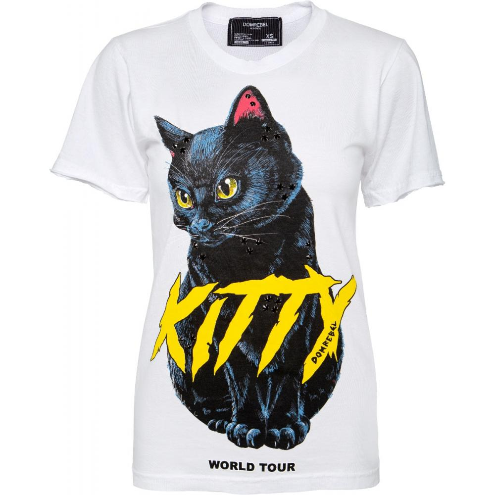 T-Shirt im Slim-Cut mit Katzenprintmotiv und Schmucksteinzier-0