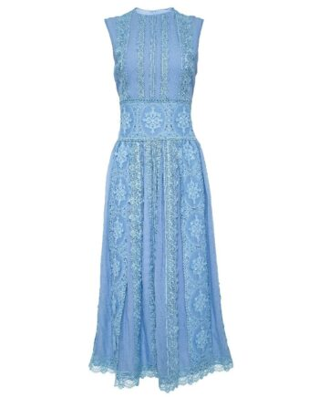 Midi-Kleid mit Spitzenbahnen und Taillierung-0