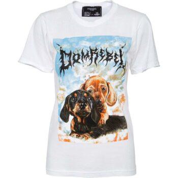 T-Shirt im Slim-Cut mit Welpenprintmotiv und Schmucksteinzier-0